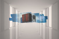 Abstract screen in room showing server towers Royalty Free Stock Photos