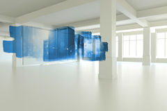Abstract screen in room showing tower servers Royalty Free Stock Image