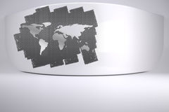 Abstract screen in room showing world map Stock Photos