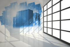 Abstract screen showing server towers Royalty Free Stock Photos
