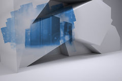 Abstract screen showing server towers Royalty Free Stock Photography