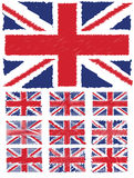 Abstract Scribble Background Union Jack Flag Set Stock Photography