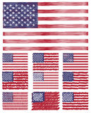 Abstract Scribble Background Usa Flag Set Royalty Free Stock Images