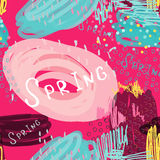 Abstract scribbles bright pink spring Stock Images