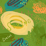 Abstract scribbles green yellow spring. Hand drawn with ink and marker brush seamless background.Ethnic design Royalty Free Stock Photo