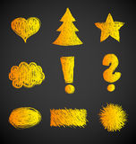 Abstract scribbles symbols Royalty Free Stock Photos