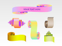 Abstract scroll paper ribbon  set. For your design Stock Photo