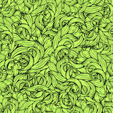 Abstract scrollwork seamless pattern, vector background. Green plants, grass, curls, waves. Natural stylized floral ornament. Hand. Drawing for design of Royalty Free Stock Photos