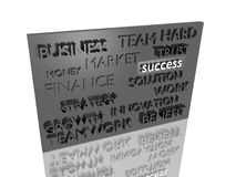 Abstract sculpture about business. Isolated abstract sculpture with words that associated with business Royalty Free Stock Photo