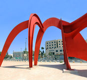Abstract Sculpture In Jerusalem. The red abstract sculpture by the artist Alexander Calder is an homage to Jerusalem. It made out of steel and is 72 feet long royalty free stock images