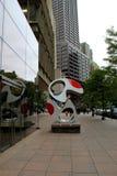 Abstract sculpture on platform,Boston,Mass,October 2014 Royalty Free Stock Photo