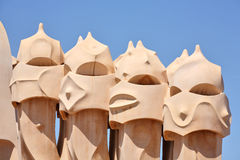 Abstract sculptures on the roof La Pedrera (Milà H Stock Photos