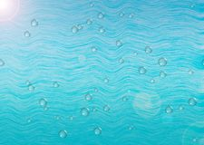 Abstract sea water background. Abstract turquoise water background with bubbles for your design. Abstract sea background with highlights and bubbles on the waves Royalty Free Stock Photos