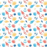 Abstract sea elements pattern on white background royalty free illustration