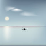 Abstract sea landscape. Fisher on boat in the ocean Stock Images