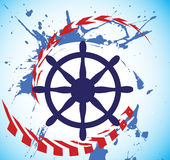 Abstract sea motive and steering wheel of ship.Yacht club banner Stock Image