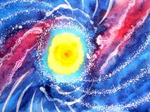 Abstract sea ocean wave, sun universe watercolor painting. Illustration design royalty free stock photography