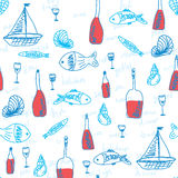 Abstract sea pattern with fish Stock Images