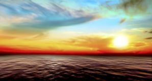 Abstract sea and sky sunset Stock Image