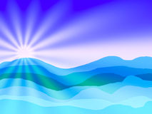 Abstract sea and sun and blue sky with drawing Stock Photography