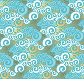 Abstract sea water seamless pattern. Art Nouveau gold and turquo Stock Photo