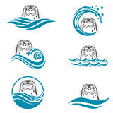 Abstract seal icons set Stock Image