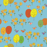 Abstract seamless autumn pattern with birds, trees, sunflowers Royalty Free Stock Image