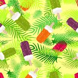 Abstract seamless backdrop of palm fronds and ice cream. Vector Stock Photography