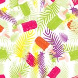 Abstract seamless backdrop of palm fronds and ice cream. Vector Royalty Free Stock Photography