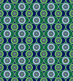 Abstract seamless background in 1960s style. Abstract seamless pattern from geometric ornament, black,gray and green circle background Stock Photos