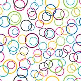Abstract seamless background, circle rings on white background stock illustration