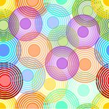 Abstract seamless background with concentric circles in pastel rainbow colors Royalty Free Stock Images