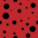 Abstract seamless background design texture with circle round lady-bird elements. Creative vector endless pattern with. Abstract seamless red background design Royalty Free Stock Image