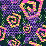 Abstract seamless background of different patterns and geometric shapes. Bright youth of color. The style of the 80 `s Stock Image