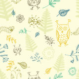 Abstract seamless background, flowers, birds and insects. Hand drawn pattern royalty free illustration
