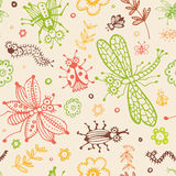 Abstract seamless background, flowers and insects Stock Photography