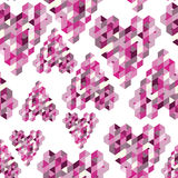 Abstract seamless background with geometric hearts Stock Photos