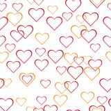 Abstract seamless background, heart rings on white background, dotted, bubbles, warm colors, love vector illustration