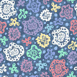 Abstract seamless background. Seamless background with multicolored abstract shapes and blue circles Stock Illustration