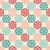 Abstract seamless  background pattern illustration. Cute funny childish seamless background pattern with red and blue pastel flowers isolated on the light fond Royalty Free Stock Photos