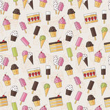Abstract seamless background pattern with sweets ice cream and cake in flat style. Vector illustration. Stylish Royalty Free Stock Images