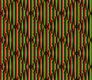 Abstract seamless background of red and black and green lines and squares. Abstract seamless strips and small squares of red and black and green lined in rows to Stock Photos
