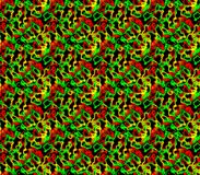 Abstract seamless background of red and yellow, green and black spots and lines around the figure. Abstract seamless background of red and yellow, green and Stock Photos