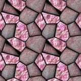 Abstract seamless background of reddish polygonal stones and pink crystals Stock Image