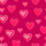 Hearts. Pink seamless pattern for Valentine`s day. Abstract seamless background. Vector illustration royalty free illustration