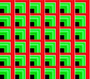 Abstract seamless background of white and black, red and green lines and squares and cubes Stock Image