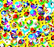 Abstract seamless background on the yellow and blue colors green, blue, black, yellow, red colored balls Stock Image
