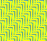 Abstract seamless background of yellow  and blue lines and angles. Abstract seamless strips and corners yellow  and blue lined in rows to form a continuous Stock Image