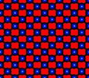 Abstract seamless black background with red flowers and blue squares Stock Images