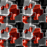 Abstract seamless black, gray and red pattern of geometric shapes and glowing blurred lines. Generated background of abstract geometric intertwining shapes Stock Photo